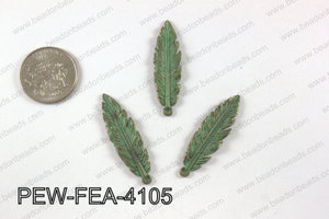 Pewter feather pendant 10x41 mm, patina finish PEW-FEA-4105