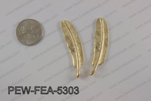 Pewter feather 12x53mm, light gold PEW-FEA-5303