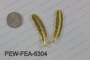 Pewter feather 12x53mm, gold PEW-FEA-5304