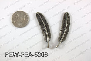 Pewter feather 12x53mm, gun metal PEW-FEA-5306
