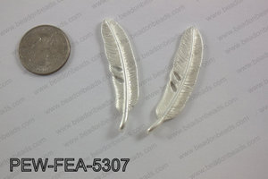 Pewter feather 12x53mm matte silverPEW-FEA-5307