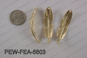 Pewter feather bar connector 15x56mm, light gold PEW-FEA-5603