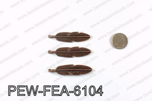 Pewter feather 61x15mm, Copper PEW-FEA-6104