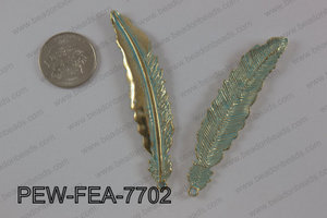 Pewter feather pendant 15x77 mm, patina finish PEW-FEA-7702
