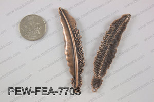 Pewter feather pendant 15x77 mm, copper PEW-FEA-7703