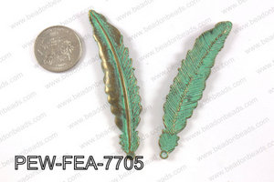 Pewter feather pendant 15x77 mm, patina finish PEW-FEA-7705
