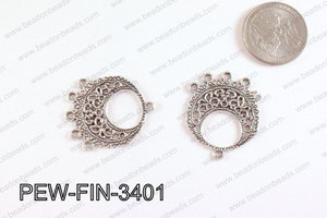 Pewter Earring component, Silver 26x34mm PEW-FIN-3401