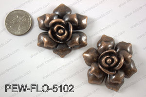 Pewter flower pendant 45x50 mm, copper PEW-FLO-5102