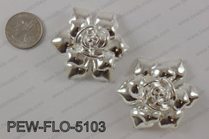 Pewter flower pendant 45x50 mm, bright silver PEW-FLO-5103