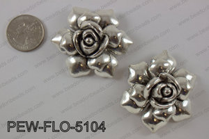 Pewter flower pendant 45x50 mm, anti silver PEW-FLO-5104
