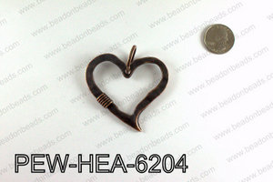 Pewter Heart Pendant, Copper PEW-HEA-6204