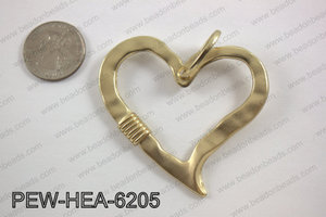 Pewter heart pendant matte gold 52x62mm  PEW-HEA-6205