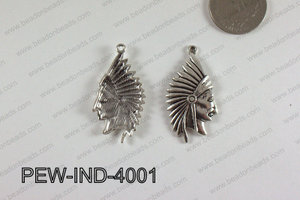 Pewter Indian Head Charm 20x40mm  Silver PEW-IND-4001