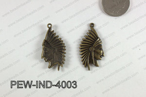 Pewter Indian Head Charm 20x40mm  Bronze PEW-IND-4003