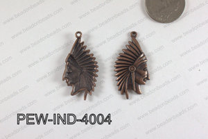 Pewter Indian Head Charm 20x40mm  Copper PEW-IND-4004