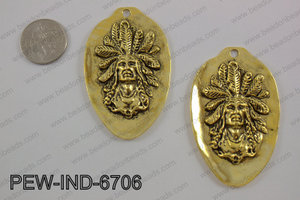 Pewter indian head pendant 67x42mm, gold PEW-IND-6706