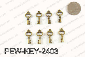 Key charm 24x11mm ,Bronze PEW-KEY-2403
