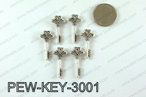 Key charm 30x14mm, Silver PEW-KEY-3001