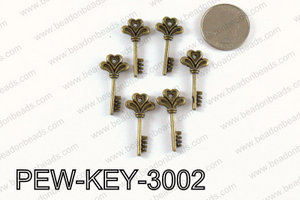 Key charm 30x14mm, Bronze PEW-KEY-3002