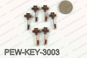 Key charm 30x14mm, Copper PEW-KEY-3003