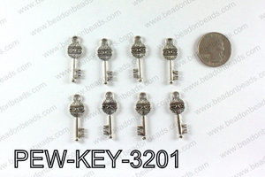 Key charm 32x11mm, Silver PEW-KEY-3201