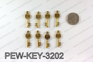 Key charm 32x11mm, Gold PEW-KEY-3202