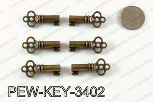 Key 34x15mm, Bronze  PEW-KEY-3402