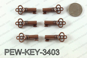 Key 34x15mm, Copper  PEW-KEY-3403