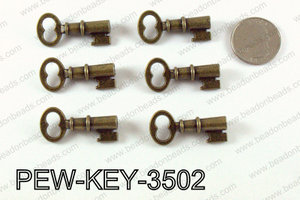 Key 35x16mm, Bronze  PEW-KEY-3502