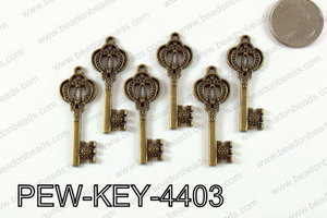 Key Pendant 44x17mm, Bronze PEW-KEY-4403