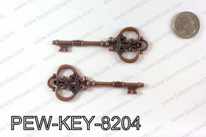 Key Pendant 82x32mm, Copper PEW-KEY-8204