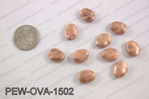 Pewter oval spacer beads 12x15mm, copper PEW-OVA-1502