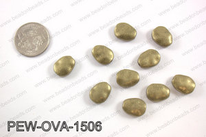 Pewter oval spacer beads 12x15mm, brass PEW-OVA-1506