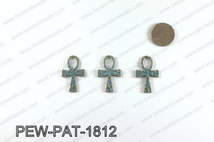 ANKH cross with turquoise patina coating 35x24mm PEW-PAT-1812