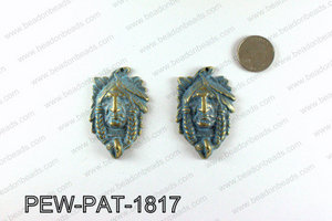 Indian head pendant with turquoise patina coating 58x35mm PEW-PA