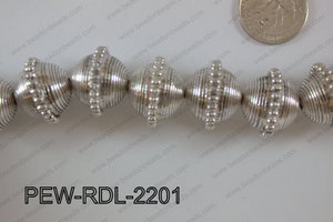 Pewter Bead Rondel 15 pcs 22mm PEW-RDL-2201