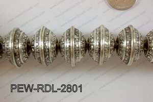 Pewter Bead Rondel 12 pcs 28mm PEW-RDL-2801