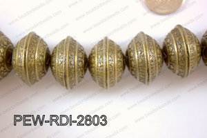 Pewter Bead Rondel 12 pcs 28mm PEW-RDL-2803