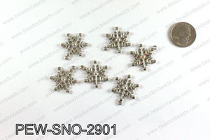 Snowflake charms 29x23mm, Silver PEW-SNO-2901