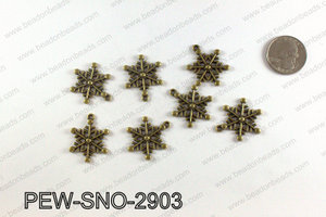 Snowflake charms 29x23mm, Bronze PEW-SNO-2903