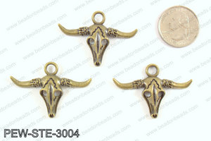 Steer head charms 30x45mm, bronze PEW-STE-3004