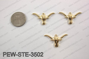 Pewter longhorn charm 20x35mm, light gold PEW-STE-3502