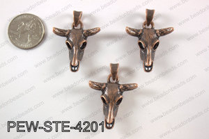 Pewter steer head pendant 30X 42 mm, copper PEW-STE-4201