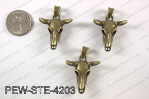 Pewter steer head pendant 30X 42 mm, brass PEW-STE-4203