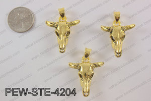 Pewter steer head pendant 30X 42 mm, gold PEW-STE-4204