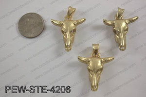 Pewter steer head pendant 30x42mm, matte goldPEW-STE-4206