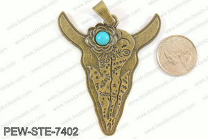 Steer head pendant w/ howlite 70x60mm, bronze PEW-STE-7402