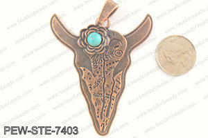 Steer head pendant w/ howlite 70x60mm, copper PEW-STE-7403