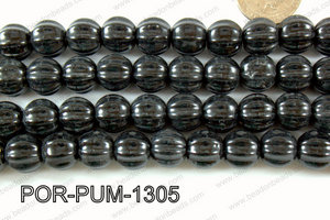 Porcelain Pumpkin 12x13mm black POR-PUM-1305