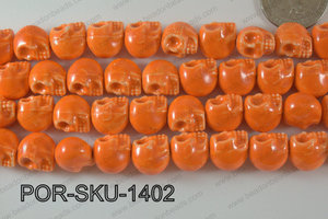 Porcelain Skull 11x14mm Orange POR-SKU-1402